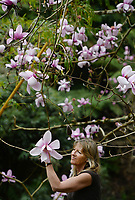 BNPS.co.uk (01202 558833)<br />Pic: ZacharyCulpin/BNPS<br /><br />Blooms amongst the gloom<br /><br />Cindy Maddison pictured with massive magnolia's at the The Lost Gardens Heligan. Located near Mevagissey in Cornwall., the magnolia grows in the 'Jungle' area of the 200 acres garden. The Jungle sits in a steep-sided valley, creating a microclimate at least five degrees warmer than the rest of Helican Gardens.