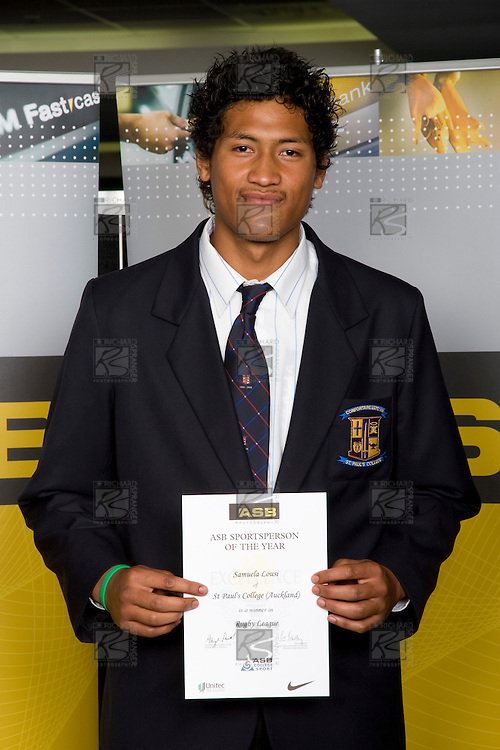 Boys Rugby League winner Samuela Lousi from St Paul's College. ASB College Sport Young Sportperson of the Year Awards 2008 held at Eden Park, Auckland, on Thursday November 13th, 2008.