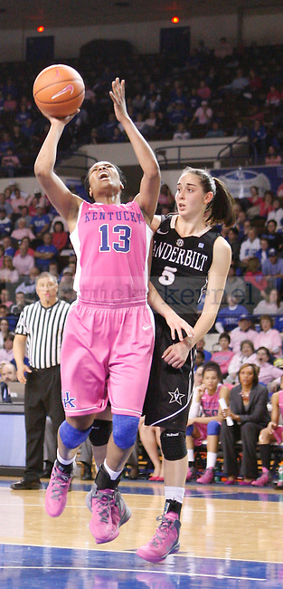 UK guard Bria Goss shoots the ball during the second half of the UK Women's basketball game against Vanderbilt on 2/20/12 at Memorial Coliseum in Lexington, Ky. Photo by Quianna Lige | Staff