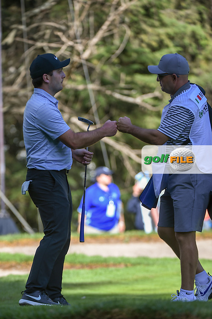 Francesco Molinari (ITA) fist bumps his caddie after sinking his putt on 7 during round 1 of the World Golf Championships, Mexico, Club De Golf Chapultepec, Mexico City, Mexico. 2/21/2019.<br /> Picture: Golffile | Ken Murray<br /> <br /> <br /> All photo usage must carry mandatory copyright credit (© Golffile | Ken Murray)