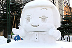 February 3, 2019, Sapporo, Japan - A snow sculpture of a TV character Chikochan is displayed at the 70th annual Sapporo Snow Festival in Sapporo in Japan's nortern island of Hokkaido on Sunday, February 3, 2019. The week-long snow festival will open on February 4 through February 11 and over 2.5 million people are expecting to visit the festival.   (Photo by Yoshio Tsunoda/AFLO) LWX -ytd-
