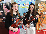 Niamh Taaffe and Roisín McManus pictured at the Louth Fleadh Cheoil held in St Oliver's Community College. Photo: Colin Bell/pressphotos.ie