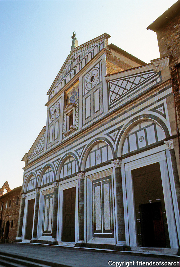 "Florence: Santa Miniato Al Monte, 1018-12?? Basilica of Romanesque style.  Facade ""Incrustration"" (colored marble design) 1070. Photo '83."