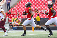 College Park, MD - September 22, 2018:  Maryland Terrapins linebacker Tre Watson (33) intercepts a pass for a touchdown during the game between Minnesota and Maryland at  Capital One Field at Maryland Stadium in College Park, MD.  (Photo by Elliott Brown/Media Images International)