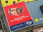 Al Franken Billboard promoting  The O'Franken Factor radio show airing from 12 - 3pm daily on Air America Radio in Times Square, <br /> New York City.<br /> August 8, 2004