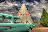 Classic turquoise station wagon at historic Wigwam Village Motel on Route 66 in Holbrook Arizona