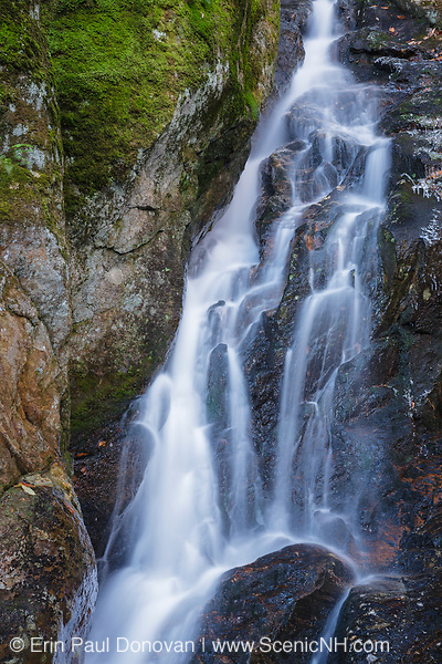 Proteus Falls on Townline Brook in the White Mountains, New Hampshire. Located near Dolly Copp Road, this waterfall is one of three waterfalls on Townline Brook, and as a group they are known as Triple Falls.