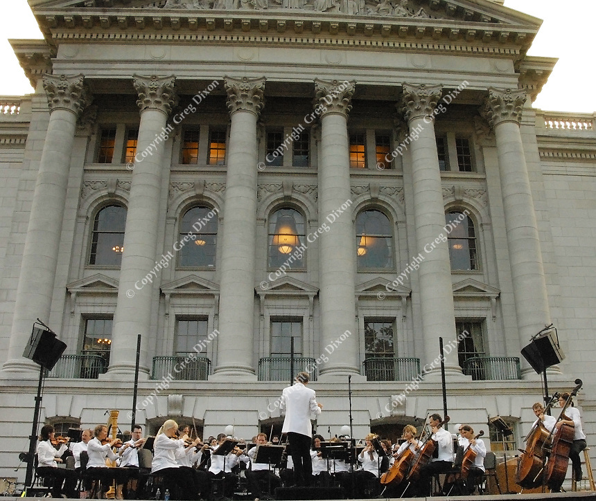 The Wisconsin Chamber Orchestra performs at a dress rehearsal in front of the Sate Capitol for Madison's Concerts on the Square on June 25, 2007 in Madison, Wisconsin