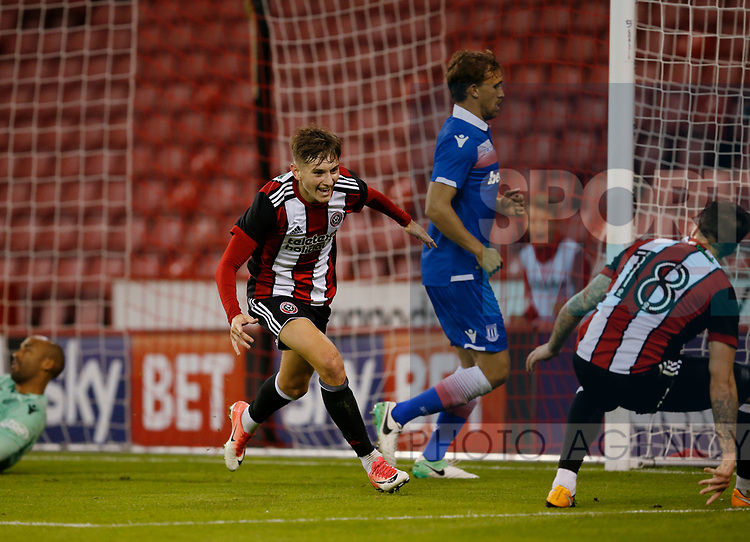 David Brooks of Sheffield Utd celebrates his goal with Kieron Freeman of Sheffield Utd during the pre season friendly at Bramall Lane Stadium, Sheffield. Picture date: July 25th 2017. Picture credit should read: Simon Bellis/Sportimage