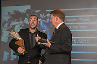 Michael Harriman (left) is interviewed by Bill Turnbull after receiving the Player's Player of the Year award during the Wycombe Wanderers End of Season 2016 Awards Dinner at Adams Park, High Wycombe, England on 1 May 2016. Photo by David Horn
