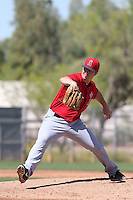 Wade LeBlanc #37 of the Los Angeles Angels pitches during a Minor League Spring Training Game against the Oakland Athletics at the Los Angeles Angels Spring Training Complex on March 17, 2014 in Tempe, Arizona. (Larry Goren/Four Seam Images)