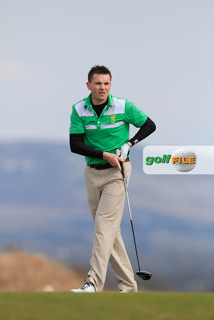 Stephen Healy (Carton House) during Matchplay Quarter-Finals on April 6th 2015 for the 2015 West of Ireland Open Championship, Co. Sligo, Golf Club, Rosses Point, Sligo, Ireland.<br /> Picture: Thos Caffrey / Golffile