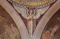 One of the four cardinal virtues painted by Pierre Poulain on the vault of the central dome of the nave, 20th century, Nanterre Cathedral (Cathédrale Sainte-Geneviève-et-Saint-Maurice de Nanterre), 1924 - 1937, by architects Georges Pradelle and Yves-Marie Froidevaux, Nanterre, Hauts-de-Seine, France. Picture by Manuel Cohen