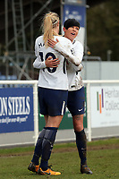Ashleigh Neville of Tottenham Ladies and Wendy Martin celebrate the victory after Tottenham Hotspur Ladies vs Oxford United Women, FA Women's Super League FA WSL2 Football at Theobalds Lane on 11th February 2018