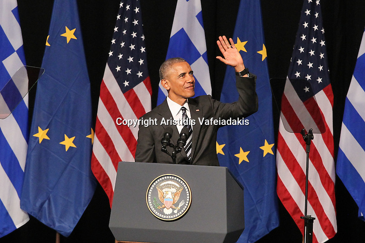 U.S. President Barack Obama delivers a speech at opera of Athens. As Obama wraps up his visit to Greece, he warns that world leaders must do more to make governments more effective and fight corruption in order to restore citizens' trust.