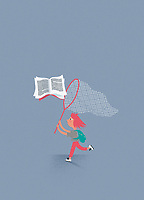 Young girl chasing flying book with butterfly net
