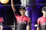 Egan Bernal (COL) Team Ineos at the team presentation held on the Grand-Place before the 2019 Tour de France starting in Brussels, Belgium. 4th July 2019<br /> Picture: Colin Flockton | Cyclefile<br /> All photos usage must carry mandatory copyright credit (© Cyclefile | Colin Flockton)