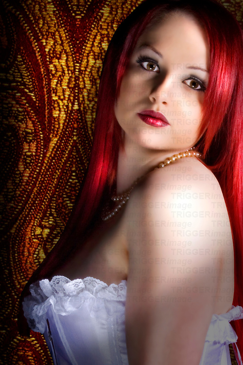girl wearing white basque, close up