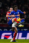 Inaki Williams Arthuer of Athletic de Bilbao (R) fights for the ball with Diego Roberto Godin Leal of Atletico de Madrid during the La Liga 2018-19 match between Atletico de Madrid and Athletic de Bilbao at Wanda Metropolitano, on November 10 2018 in Madrid, Spain. Photo by Diego Gouto / Power Sport Images