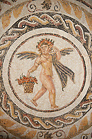 Picture of a Roman mosaics design depicting Silenus and fishing cupids, from the ancient Roman city of Thysdrus. 3rd century AD, House of Silenus. El Djem Archaeological Museum, El Djem, Tunisia.