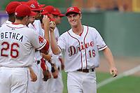 Right fielder Derek Miller (16) of the Greenville Drive is introduced to the crowd before a game against the Augusta GreenJackets on Opening Day, Thursday, April 9, 2015, at Fluor Field at the West End in Greenville, South Carolina. Greenville won, 3-2. (Tom Priddy/Four Seam Images)