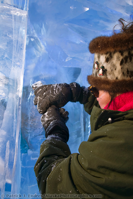 Kathleen Carlo sculpts In your wildest dreams Multi Block, 2003 World Ice Art Championships, Fairbanks Alaska. Multi Block team Anita Tabor, Greg Barthalomew, Kathleen Carlo, Abel Ramirez,.
