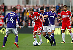 Patrick Bamford of Middlesbrough and Enda Stevens of Sheffield Utd  during the Championship match at the Riverside Stadium, Middlesbrough. Picture date: August 12th 2017. Picture credit should read: Simon Bellis/Sportimage