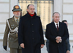 Enrico Letta, Italian Prime Minister (L) and Russian President Vladimir Putin during the Italo-Russian intergovernmental meeting in Trieste, on November 26, 2013.  <br /> <br /> &copy; Pierre Teyssot