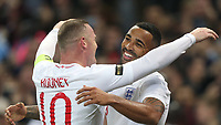 England's Callum Wilson celebrates scoring his side's third goal with Wayne Rooney<br /> <br /> Photographer Rob Newell/CameraSport<br /> <br /> The Wayne Rooney Foundation International - England v United States - Thursday 15th November 2018 - Wembley Stadium - London<br /> <br /> World Copyright © 2018 CameraSport. All rights reserved. 43 Linden Ave. Countesthorpe. Leicester. England. LE8 5PG - Tel: +44 (0) 116 277 4147 - admin@camerasport.com - www.camerasport.com