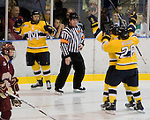 Stephane Da Costa (Merrimack - 24), Brandon Brodhag (Merrimack - 12), Jeff Velleca (Merrimack - 28) - The Merrimack College Warriors defeated the Boston College Eagles 5-3 on Sunday, November 1, 2009, at Lawler Arena in North Andover, Massachusetts splitting the weekend series.