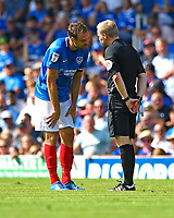 Referee Gavin Ward has a word with Brett Pitman of Portsmouth during Portsmouth vs Luton Town, Sky Bet EFL League 1 Football at Fratton Park on 4th August 2018
