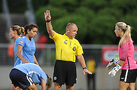 Boyds, MD - Saturday June 25, 2016: Raquel Rodriguez, Referees, Caroline Stanley during a United States National Women's Soccer League (NWSL) match between the Washington Spirit and Sky Blue FC at Maureen Hendricks Field, Maryland SoccerPlex.
