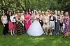 Visually impaired bride with female wedding guests.