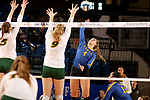 BROOKINGS, SD - OCTOBER 28: Ashlynn Smith #4 from South Dakota State tries for a kill past McKenzie Burke #5 and Emily Halverson #9 from North Dakota State during their match Sunday afternoon at Frost Arena in Brookings. (Photo by Dave Eggen/Inertia)