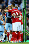 Former playing colleagues Pablo Zabaleta of Manchester City and Alvaro Negredo of Middlesbrough hug during the Premier League match at the Etihad Stadium, Manchester. Picture date: November 5th, 2016. Pic Simon Bellis/Sportimage