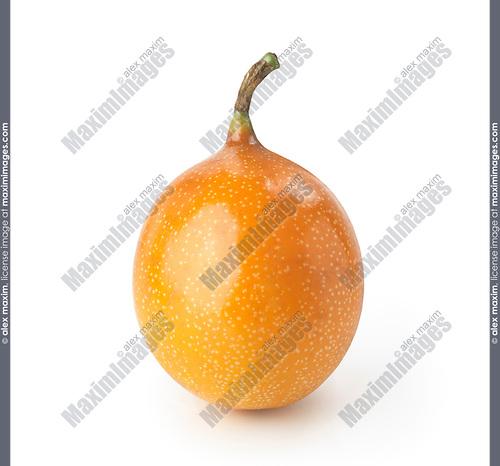 Ripe yellow passion fruit, passionfruit, exotic fruit isolated on white background