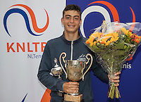 Hilversum, Netherlands, August 13, 2016, National Junior Championships, NJK, Prizegiving, winner boy's  single 14 years : Jesse den Hartog<br /> Photo: Tennisimages/Henk Koster