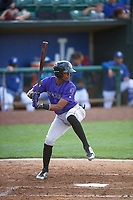 Julio Carreras (2) of the Grand Junction Rockies bats against the Ogden Raptors at Lindquist Field on June 14, 2019 in Ogden, Utah. The Raptors defeated the Rockies 12-0. (Stephen Smith/Four Seam Images)