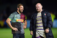 Chris Robshaw of Harlequins with Dan Cole of Leicester Tigers after the match. Gallagher Premiership match, between Harlequins and Leicester Tigers on May 3, 2019 at the Twickenham Stoop in London, England. Photo by: Patrick Khachfe / JMP