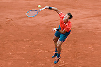 May 31, 2015: Tomas Berdych of Czech Republic in action in a 4th round match against Jo-Wilfried Tsonga of France on day eight of the 2015 French Open tennis tournament at Roland Garros in Paris, France. Tsonga won 63 62 67 63. Sydney Low/AsteriskImages
