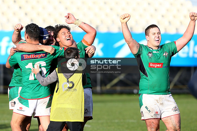 NELSON, NEW ZEALAND -JULY 30: Richmond Rabbits celebrate winning the final at the Tasman Rugby League Final Richmond Rabbits v Wanderers Wolves Trafalgar Park on July 30 2016 in Nelson, New Zealand. (Photo by: Evan Barnes Shuttersport Limited)