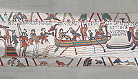 Bayeux Tapestry scene 4: Harold boards his ship to sail across the Channel to Normandy.