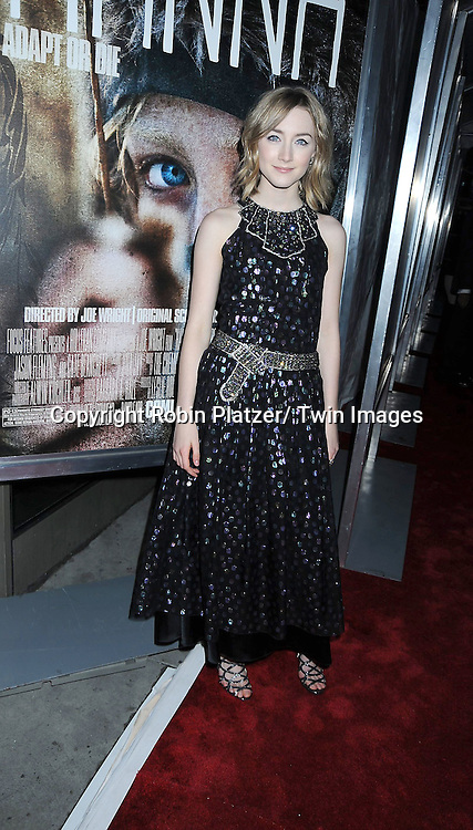 """actress Saoirse Ronan in Chanel dressattending The New York Special Screening of """"Hanna"""" starring Saoirse Ronan and Eric Bana on April 6, 2011 at The Regal Union square Stadium 14 in New York City."""