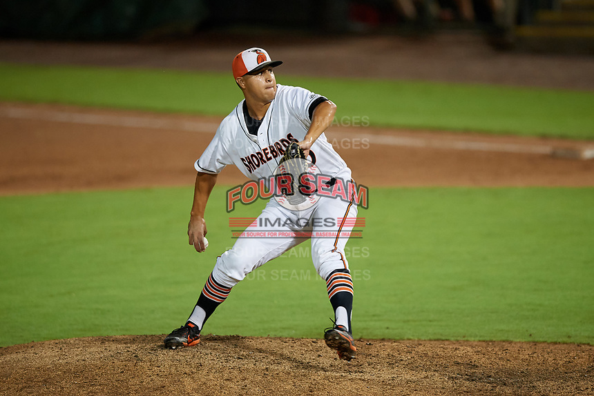Delmarva Shorebirds pitcher Matt De La Rosa (30) during a South Atlantic League game against the Greensboro Grasshoppers on August 21, 2019 at Arthur W. Perdue Stadium in Salisbury, Maryland.  Delmarva defeated Greensboro 1-0.  (Mike Janes/Four Seam Images)
