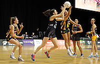 26.07.2015 Silver Ferns Bailey Mes in action during the Silver Fern v South Africa netball test match played at Claudelands Arena in Hamilton. Mandatory Photo Credit ©Michael Bradley.