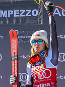 20th January 2019, Cortina D'Ampezzo, Italy; Ladies Super G,  winner Mikaela Shiffrin of the USA during the winners Ceremony