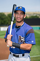 Missoula Osprey second baseman Jose Caballero (19) poses for a photo prior to the game against the Billings Mustangs at Dehler Park on August 20, 2017 in Billings, Montana.  The Osprey defeated the Mustangs 6-4.  (Brian Westerholt/Four Seam Images)