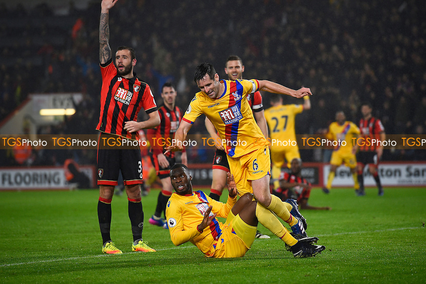 Scott Dann ( 6) scores the first goal of the match and celebrates during AFC Bournemouth vs Crystal Palace, Premier League Football at the Vitality Stadium on 31st January 2017