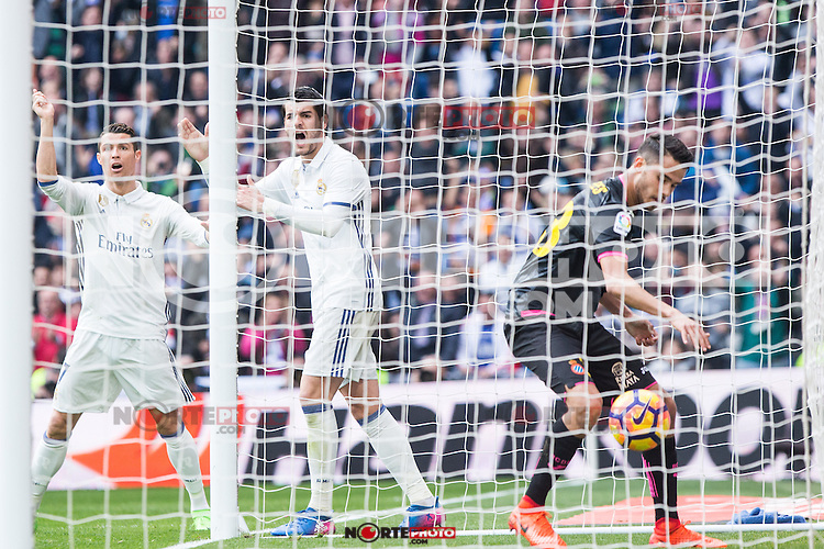 Cristiano Ronaldo and Alvaro Morata  of Real Madrid reacts during the match of La Liga between Real Madrid and RCE Espanyol at Santiago Bernabeu  Stadium  in Madrid , Spain. February 18, 2016. (ALTERPHOTOS/Rodrigo Jimenez) /Nortephoto.com
