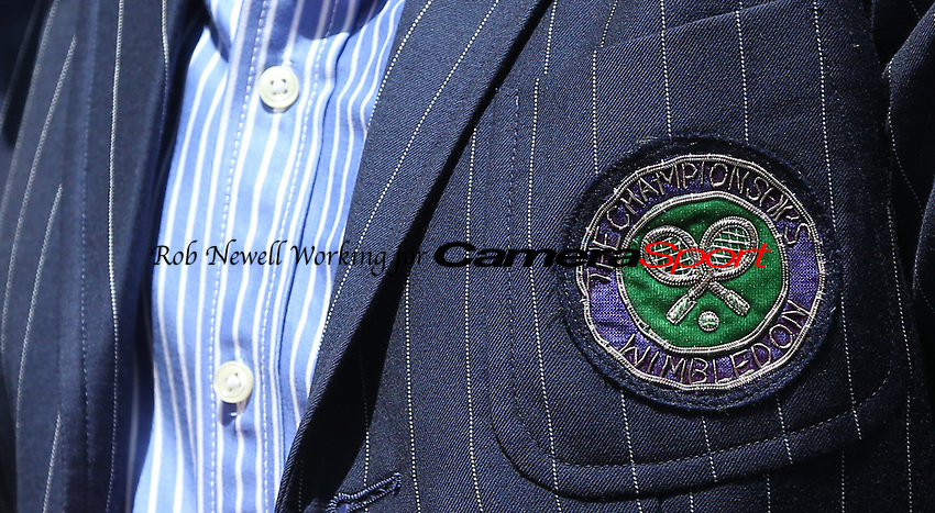 A close-up of the umpire's blazer<br /> <br /> Photographer Rob Newell/CameraSport<br /> <br /> Wimbledon Lawn Tennis Championships - Day 4 - Thursday 4th July 2019 -  All England Lawn Tennis and Croquet Club - Wimbledon - London - England<br /> <br /> World Copyright © 2019 CameraSport. All rights reserved. 43 Linden Ave. Countesthorpe. Leicester. England. LE8 5PG - Tel: +44 (0) 116 277 4147 - admin@camerasport.com - www.camerasport.com
